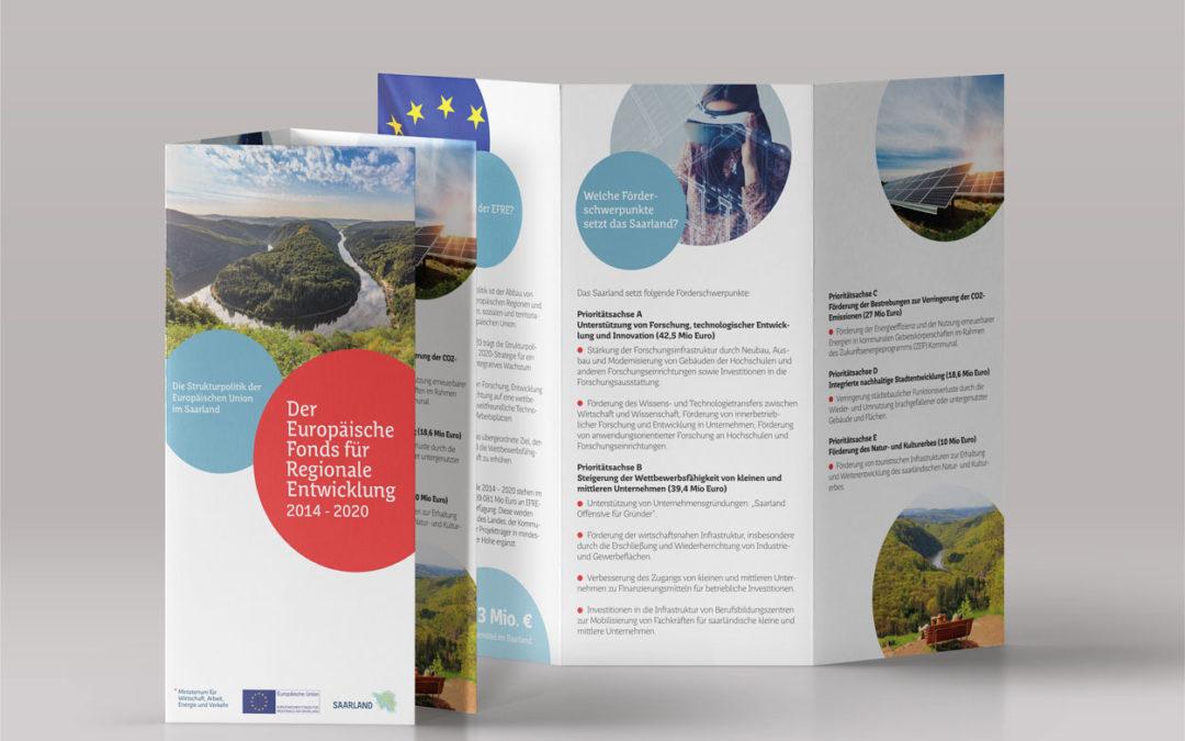 Roll-Up und Flyer-Design für das Wirtschaftsministerium des Saarlandes.